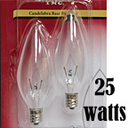 Clear Torpedo Bulbs, 25 Watt