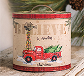 Country Christmas Tin w/ Lid