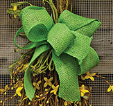 Pre-Made Green Burlap Bow