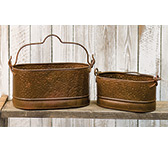 Rusty Corrugated Oval Buckets, Set of 2