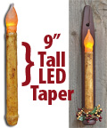 Burnt Ivory LED Taper, 9""