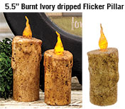 Burnt Ivory Dripped Flicker Pillar - 5.5""