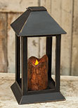 Burnt Mustard Dripped Pillar Lantern, 12 inch