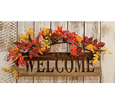 Welcome Wooden Sign w/Leaves