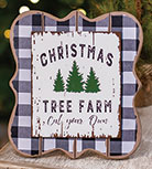 Christmas Tree Farm Buffalo Check Easel