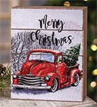 Merry Christmas Red Truck Box Sign