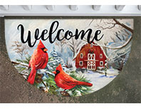 Winter Cardinal Welcome Mat