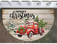 Red Truck Merry Christmas Welcome Mat