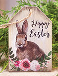 Happy Easter Floral Bunny Tag Ornament