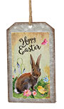 Happy Easter Bunny Metal Tag Ornament