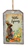 Hello Spring Bunny Metal Tag Ornament