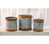 3/Set, Rusty/Galvanized Metal Canisters