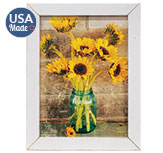 Country Sunflowers Print, White Wash Frame