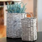 2/Set Gray Willow Oval Baskets