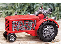 Resin Farm Fresh Tractor With Rooster
