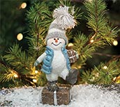 Resin Crystal Willie Snowman With Gift