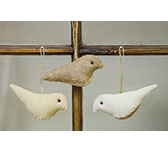 3/Set, Vintage Bird Ornaments