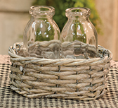 *2  Bottles/Wicker Basket