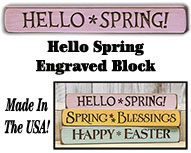Hello Spring Engraved Sign, 12""