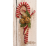 "8"" Jute Candy Cane w/Bells"