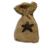 Star Burlap Bag, 3-1/2""