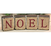 4/Set, Noel Burlap Blocks