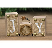 3/Set, Burlap Joy Blocks