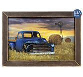 Old Chevy With Windmill Framed Print, 12x18