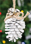 White Glitter Pinecone Ornament, 5\
