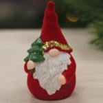 Flocked Resin Santa Gnome Figurine