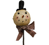 Rustic Cotton Snowman Pick