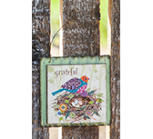 "Grateful Partridge Sign, 4.5"" Sq"