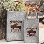 2/Set, Christmas Trees Metal Totes