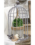 Wire Birdcage with Jute and Cement Plant Holder, Medium