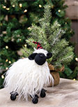 Standing Fuzzy Sheep With Santa Hat