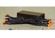 Amber Silicone Mini Lights, Brown Cord, 20 ct