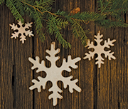 3/Set, Wooden Snowflakes