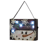Lit Snowman Canvas Ornament
