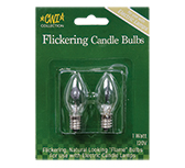 2/pk, Flicker Candle Bulbs, 1W