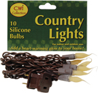Silicone Lights, Brown Cord, 10ct