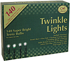 Twinkle Lights, Green Cord, 140 ct