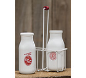 *Retro Milk Bottles w/Carrier, Small