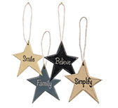 Vintage Star Word Orns, 4/set