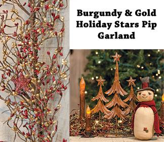 4 1/2'' Burgundy & Gold Holiday Stars Pip Garland